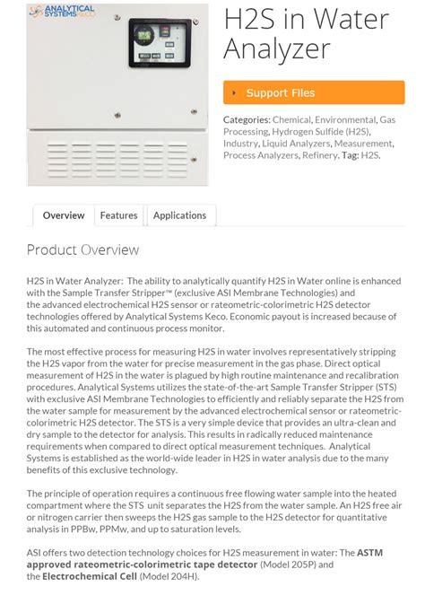 Water Analyzers h2s in water analyzer