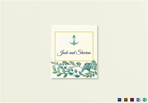 place card template illustrator nautical wedding place card template in psd word