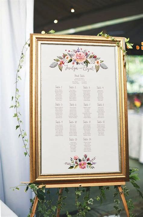 wedding table seating floral wedding seating chart printable seating chart