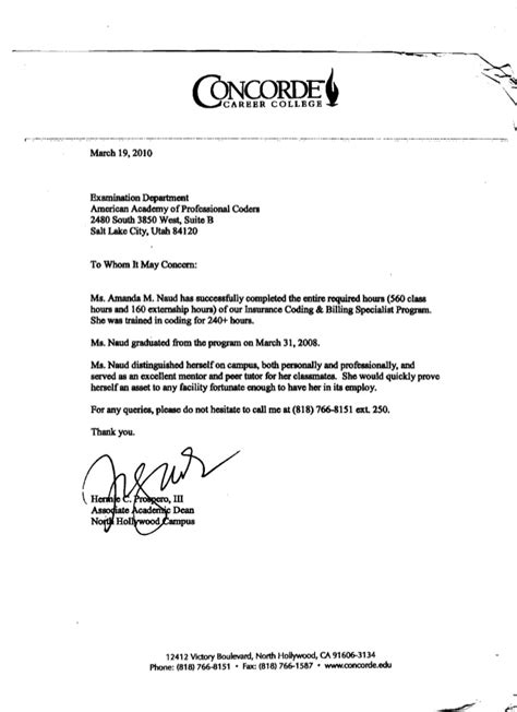 Letter Of Recommendation From College Dean Concorde Career College Dean Letter Of Recommendation