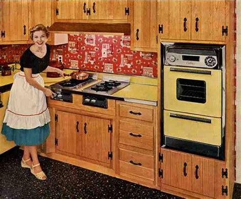 50s Kitchen Cabinet | retro ranch kitchen autumn birch cabinets and bandana