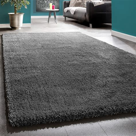 teppiche 150x150 shaggy rug anthracite soft high pile charcoal