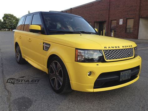matte yellow range rover sport autobiography vehicle