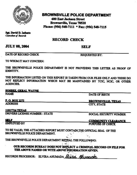 Fbi Certificate Of No Criminal Record No Criminal Record Form Letter