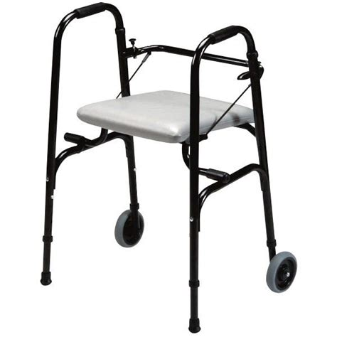 walker with fold seat and wheels