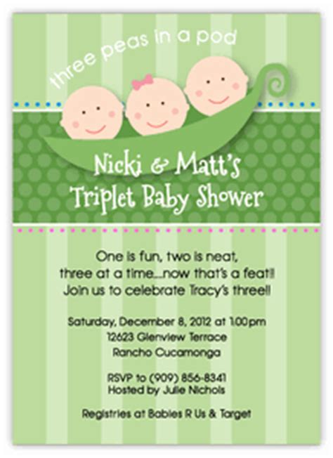Three Peas In A Pod Baby Shower by Three Peas In A Pod Boy Triplets Baby Shower Invitation