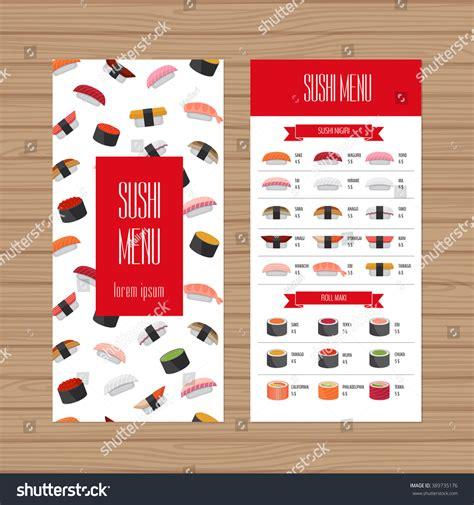 flyer design japan sushi menu design leaflet flyer layout stock vector