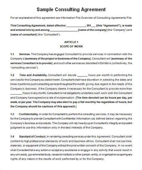 consulting agreement template india consulting agreement template free templates