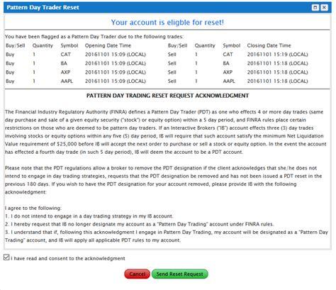pattern day trader reset verzoek indienen pdt blokkade van mijn rekening te verwijderen