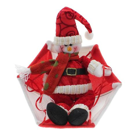 santa claus snowman in parachute christmas tree hanging