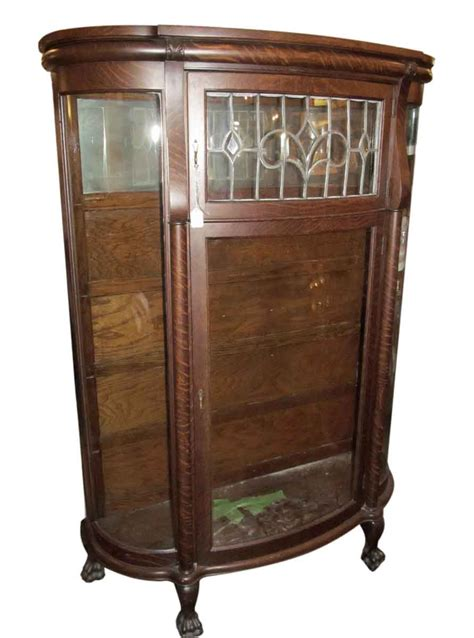 antique china cabinet with leaded glass olde things