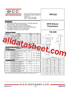 transistor tip122 datasheet pdf tip122 datasheet pdf micro commercial components