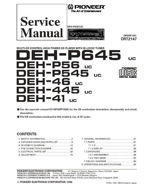 pioneer tuner deh wiring diagram deh p4000ub wiring