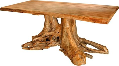amish rustic stump table with grey elm top