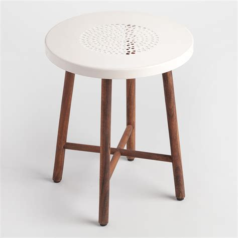 White Metal Stools by White Metal And Wood Tristan Stool World Market