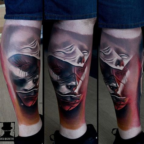 abstract faces leg tattoo best tattoo ideas gallery