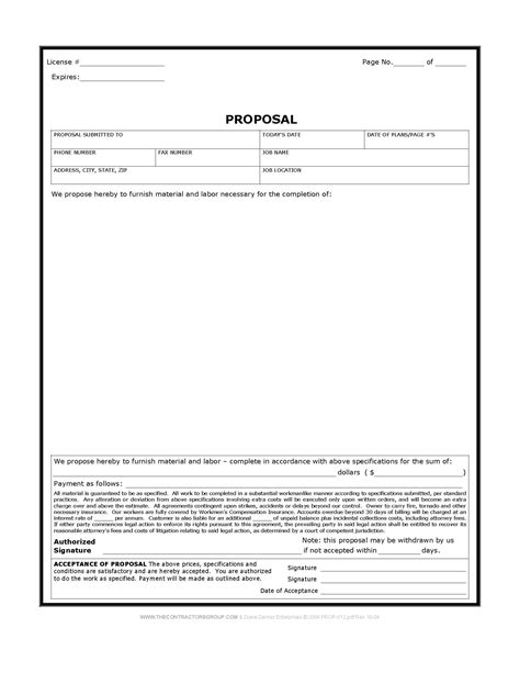 free print contractor proposal forms construction