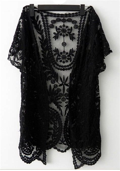 black flowers hollow out v neck lace crochet sleeve