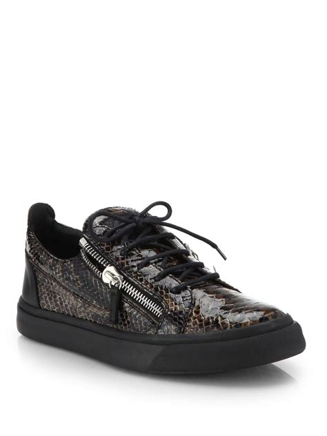 snake skin sneakers giuseppe zanotti snakeskin embossed leather lace up