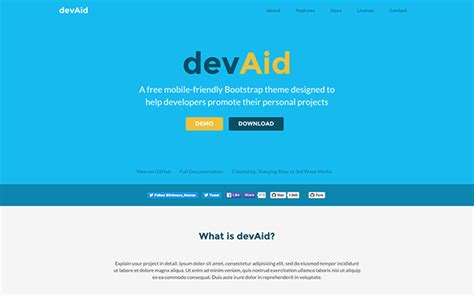 free bootstrap themes github devaid free bootstrap theme for developers responsive