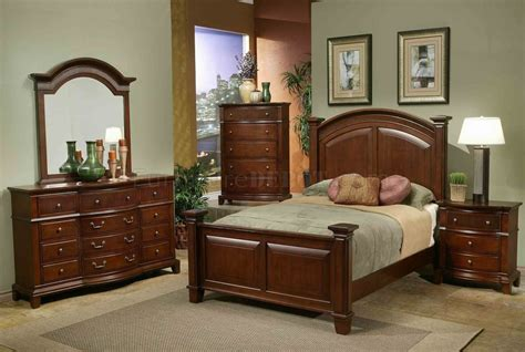 Transitional Bedroom Sets by Brown Finish Transitional 6pc Bedroom Set W Options