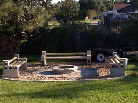benches around fire pit cinder block benches around fire pit outdoor pinterest