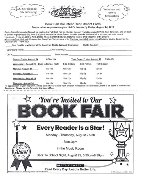 book fair volunteer flyer images