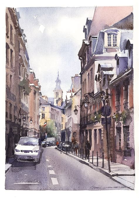 Home Interior Paintings by Urban Paintings Watercolor Artworks By Artist Vladislav