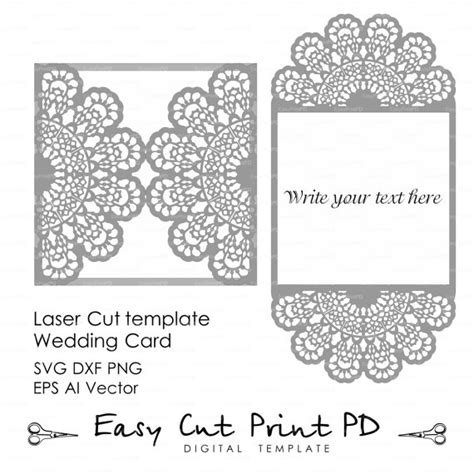 ccf card template wedding invitation lace crochet doily pattern card