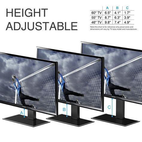 Tempered Glass Universal 50 Inch All Type universal table top tv stand for 32 to 65 inch tvs height adjustable fitueyes