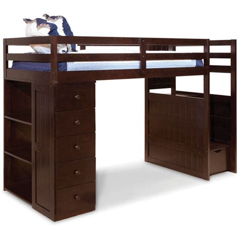 Loft Beds With Drawers Canwood Mountaineer Loft Bed With Storage Tower And Built In Stairs Drawers Espresso