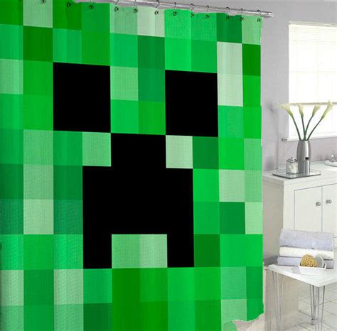 minecraft bathroom accessories minecraft shower curtains from berniececurtain on etsy