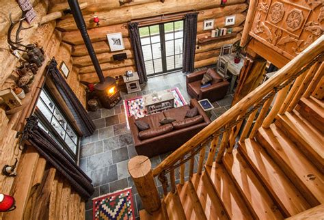 open plan living space in log cabin parus picture of