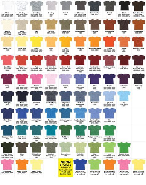 at t colors t shirt details color chart imagintee