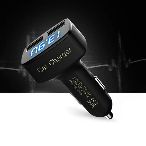 New 4in1 Car Charger Voltmeter Eremeter Temperature 3 1a Output 4 in1 3 1a dual usb car charger temperature ammeter