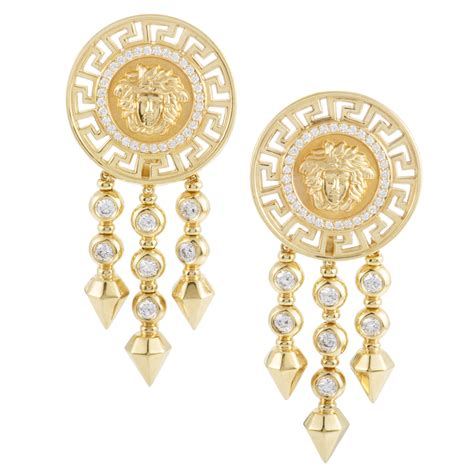 versace womens 18k yellow gold and clip on dangle