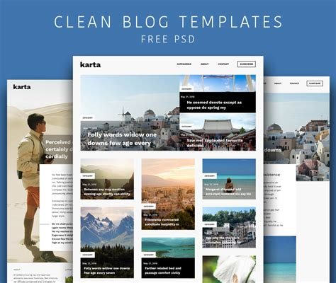 download free clean and simple blog templates free psd