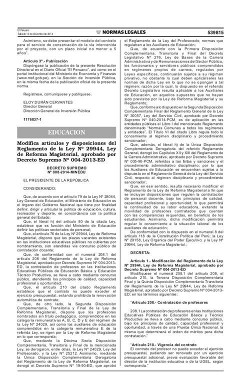 contrato de auxiliares minedu 2016 ds 008 2014 minedu auxiliares educacion