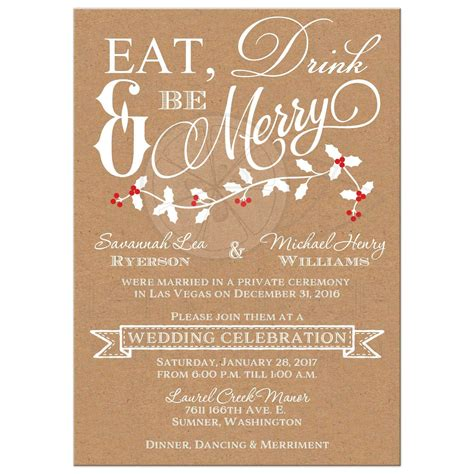 Reception Wedding Invitations by Winter Wedding Reception Invitation Eat Drink Be