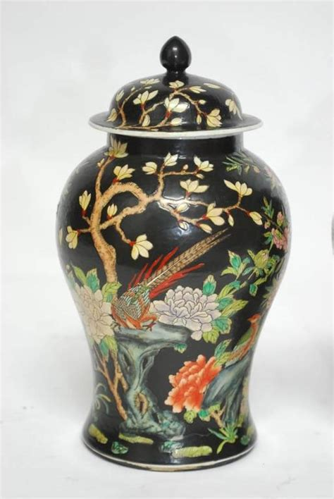 Pair 2 Large Antique Style Koi Lidded Jar Vase Blue White New What S It Worth Pair Of Famille Noir Black Jars At 1stdibs