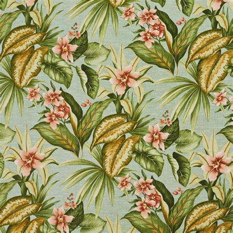 Tropical Upholstery Fabric Green Blue And Floral Indoor Outdoor Upholstery Fabric