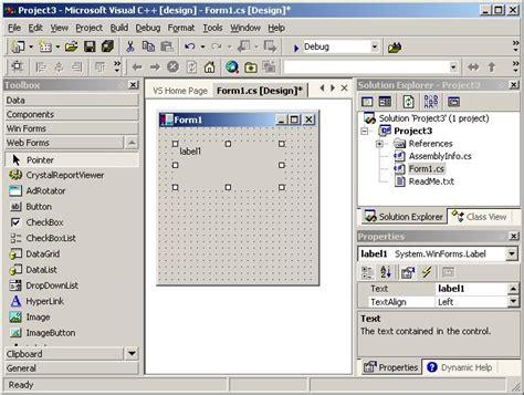 design form in visual studio visual studio net screen shots codeproject