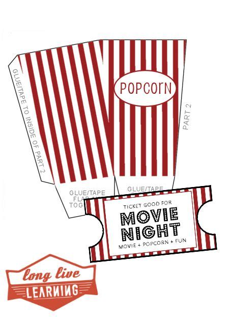 printable movie gift cards movie night pack popcorn boxes ticket template