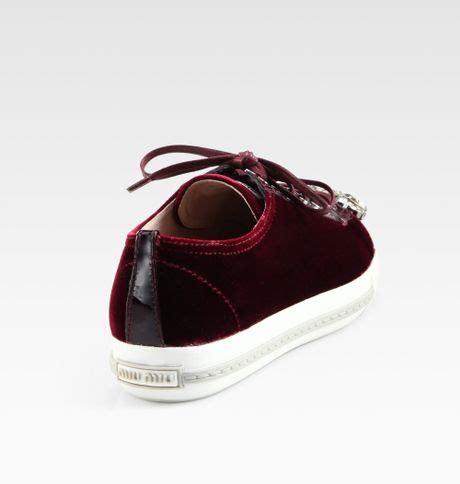 miu miu velvet sneakers miu miu velvet jeweled laceup sneakers in bordeaux