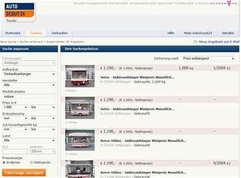 Günstig Auto Kaufen Gebraucht by Imbisswagen Gebraucht Oder Neue Imbissanh 228 Nger G 252 Nstig Kaufen