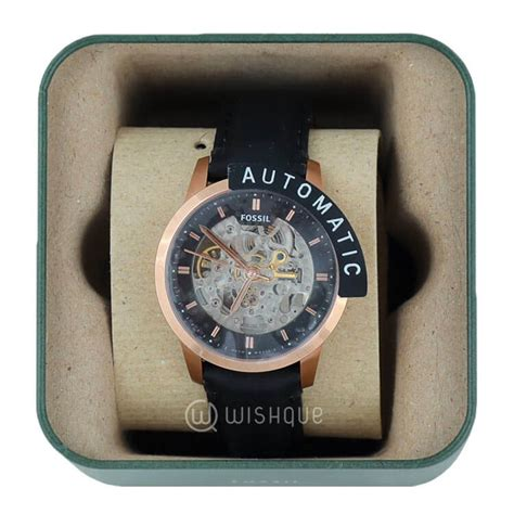 Fossil Me 3084 Automatic fossil townsman automatic see through black leather