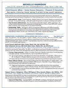 Cfo Resume Templates by Resume Sles Chief Financial Officer Cfo Non Profit