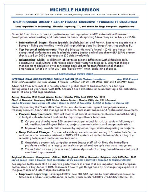 Coo Resume Sample by Resume Samples Chief Financial Officer Cfo Non Profit