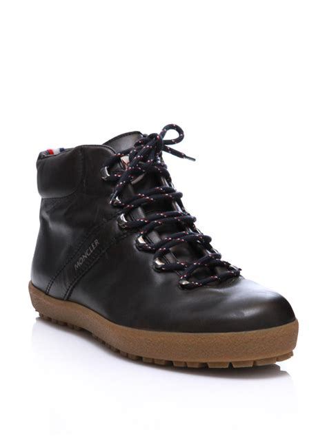 moncler boots moncler leather hiking boots in brown for charcoal