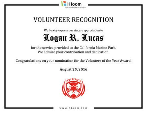 certification letter volunteer 8 free printable certificates of appreciation templates